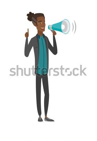 Africaine affaires parler haut-parleur annonce Photo stock © RAStudio