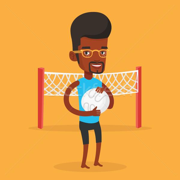 Strand volleybal speler jonge gelukkig Stockfoto © RAStudio