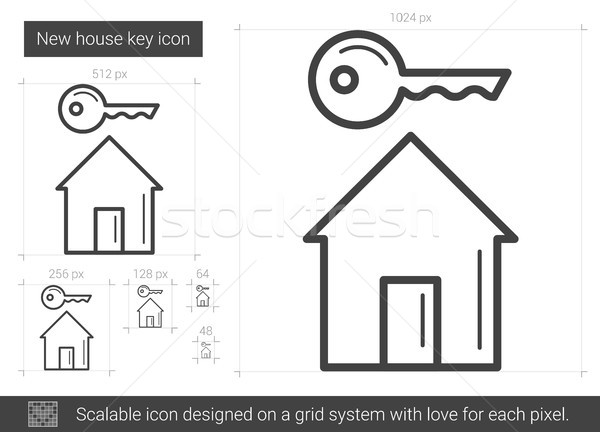 New house key line icon. Stock photo © RAStudio