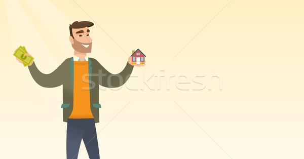 Kaukázusi férfi vásárol ház köszönet kölcsön Stock fotó © RAStudio
