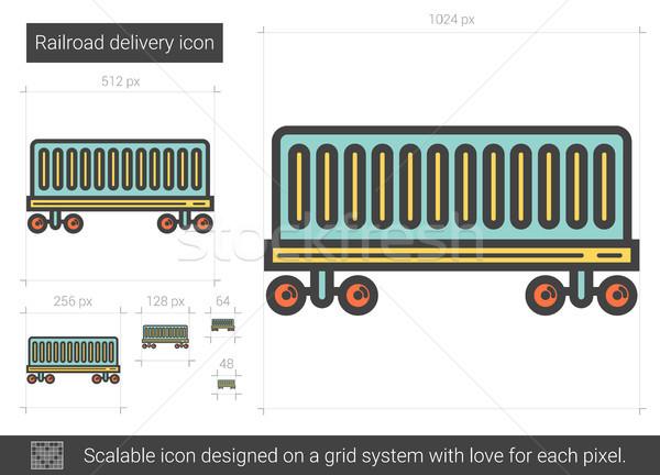 железная дорога доставки линия икона вектора изолированный Сток-фото © RAStudio
