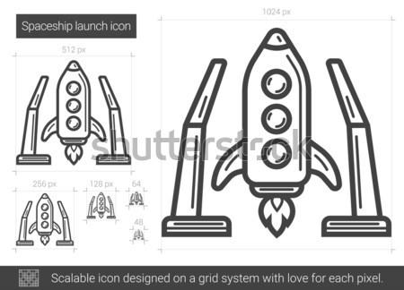 Statek kosmiczny line ikona wektora odizolowany Zdjęcia stock © RAStudio