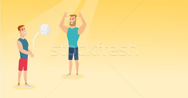 Dwa mężczyzn gry plaży siatkówka Zdjęcia stock © RAStudio
