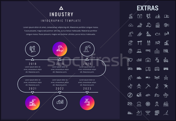 Industrie modèle icônes chronologie Photo stock © RAStudio