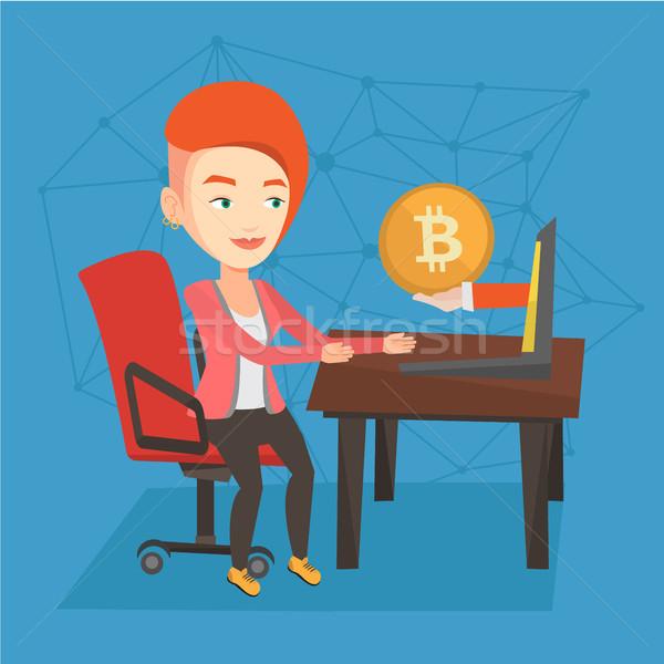 Vrouw bitcoin munt handel jonge kaukasisch Stockfoto © RAStudio