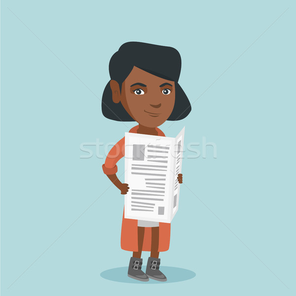 Young african-american woman reading a newspaper. Stock photo © RAStudio
