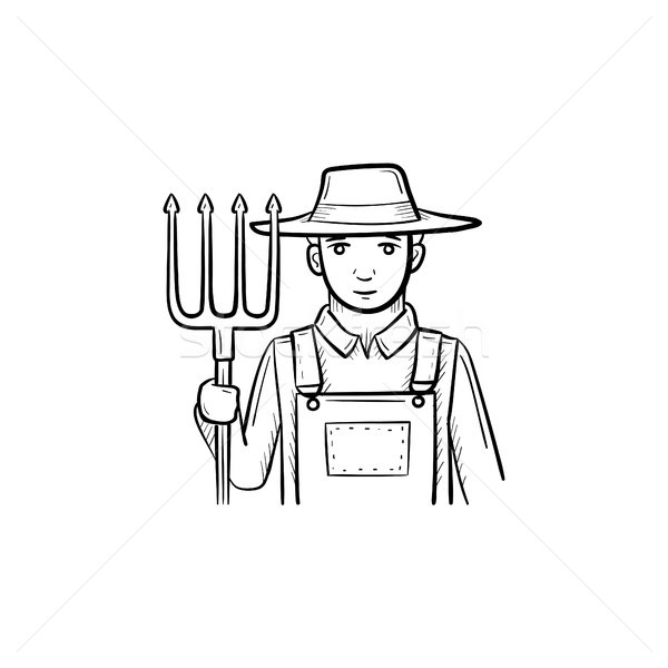 Farmer with pitchfork hand drawn sketch icon. Stock photo © RAStudio