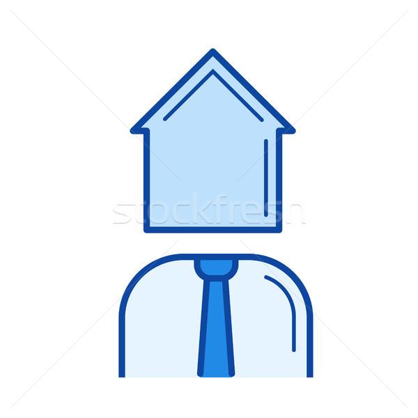 Agent immobilier ligne icône vecteur isolé blanche Photo stock © RAStudio