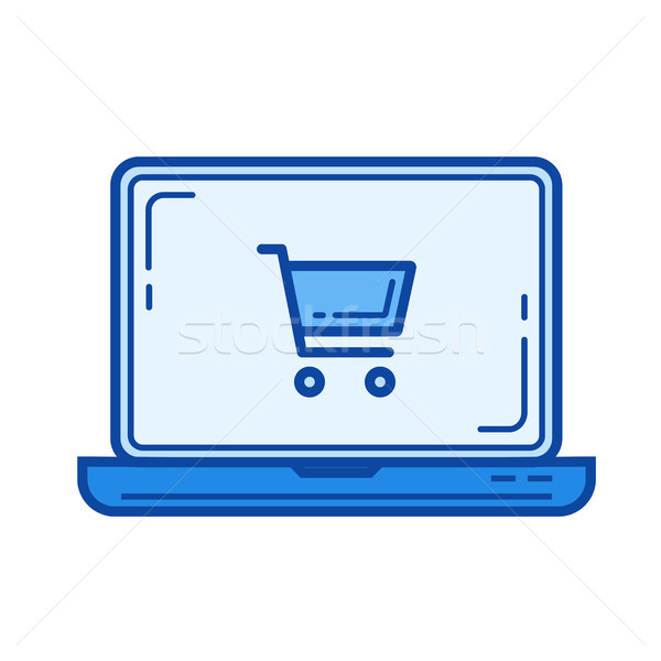 Online alışveriş hat ikon vektör yalıtılmış beyaz Stok fotoğraf © RAStudio