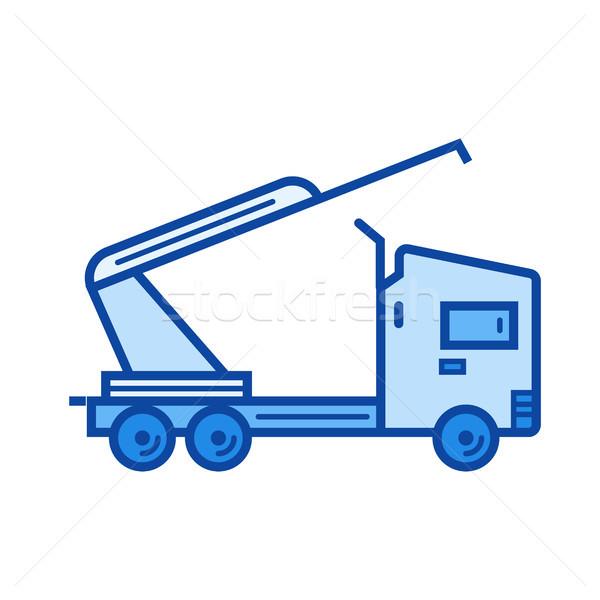 Camion grue ligne icône vecteur isolé Photo stock © RAStudio