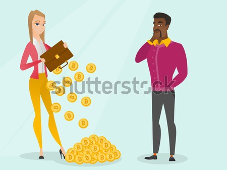 Business woman shaking out money from briefcase. Stock photo © RAStudio