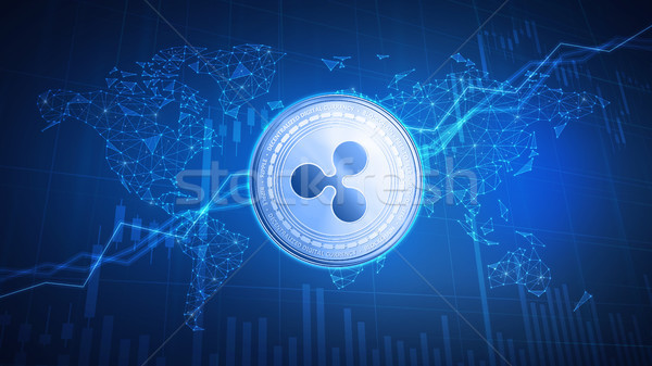 Ripple coin on hud background with bull stock chart. Stock photo © RAStudio