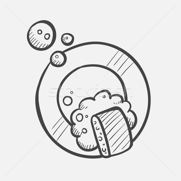 Yemek yıkama kroki ikon vektör Stok fotoğraf © RAStudio