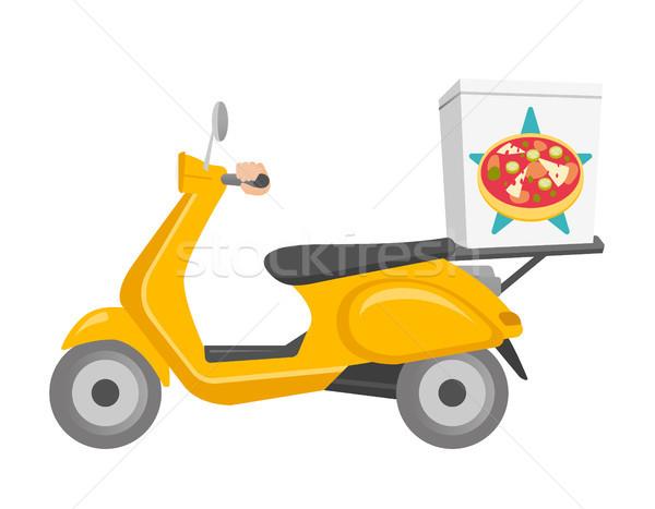 Foto stock: Pizza · entrega · vector · Cartoon · ilustración