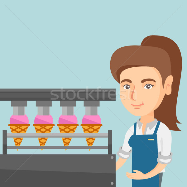 Caucasian worker of factory producing ice-cream. Stock photo © RAStudio