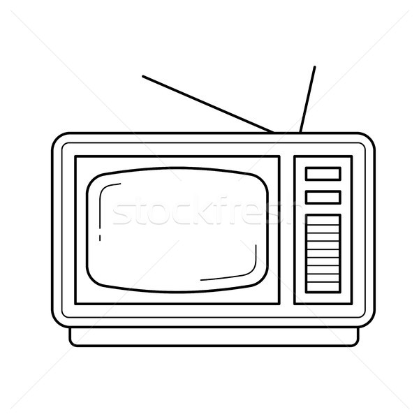 Stock photo: Vintage TV line icon.
