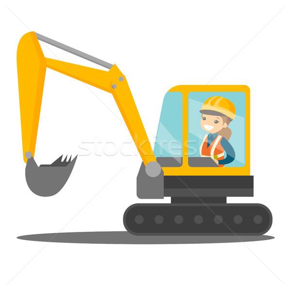 Grande excavadora caucásico sonriendo femenino Foto stock © RAStudio