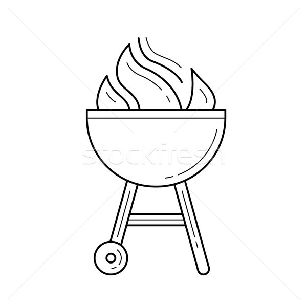 Charcoal grill vector line icon. Stock photo © RAStudio