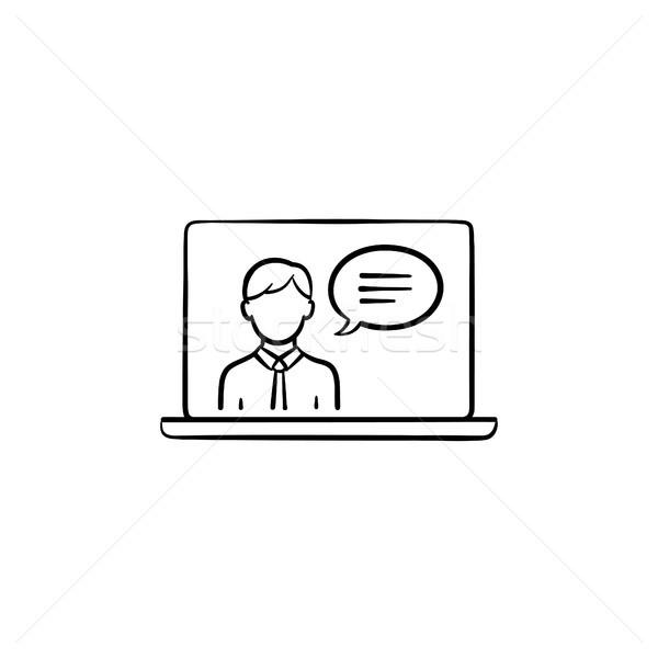 Video chat hand drawn sketch icon. Stock photo © RAStudio
