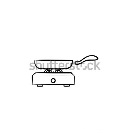 Frying pan hand drawn sketch icon. Stock photo © RAStudio