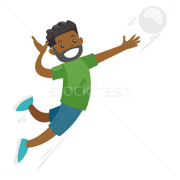 Fekete sportoló játszik röplabda férfi profi Stock fotó © RAStudio