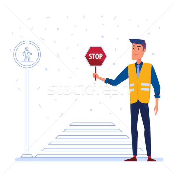 Traffic security guard with stop sign in front of the crosswalk. Stock photo © RAStudio