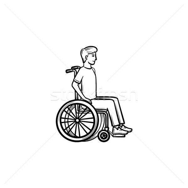 Disable person in wheelchair hand drawn outline doodle icon. Stock photo © RAStudio