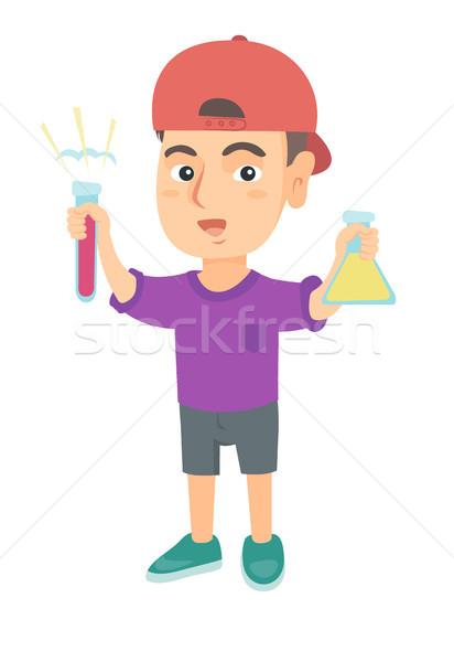 мало кавказский мальчика пробирку химический стакан Сток-фото © RAStudio