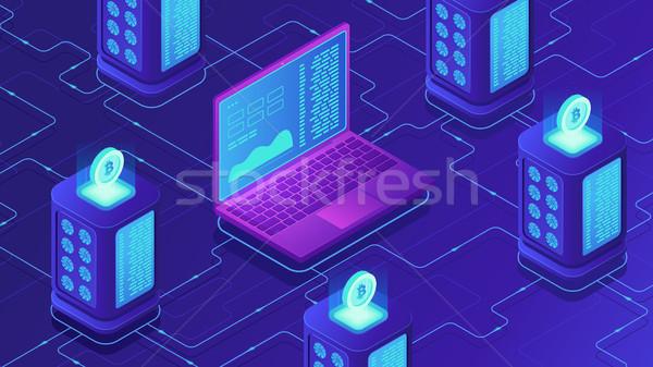 Isometrische mijnbouw boerderij bitcoin server kamer Stockfoto © RAStudio