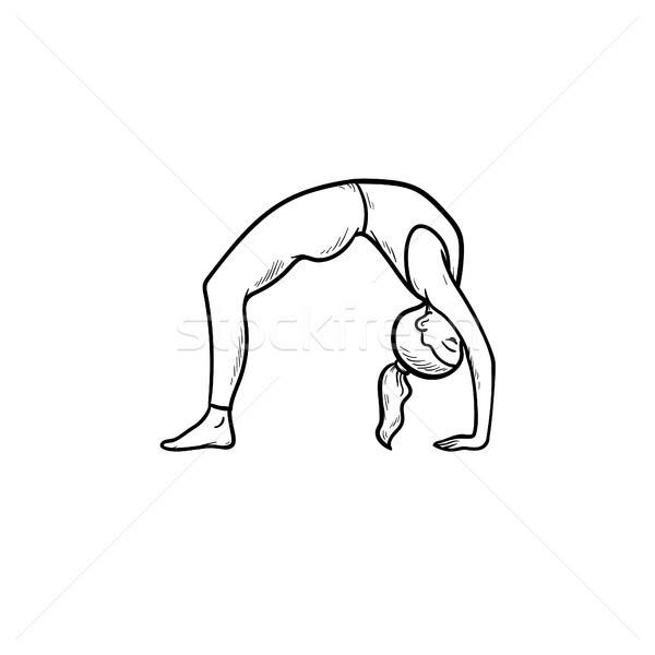 Woman in yoga bridge pose hand drawn outline doodle icon. Stock photo © RAStudio