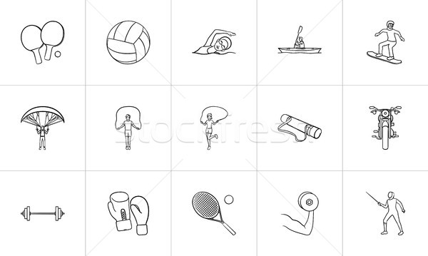 Sports and equipment hand drawn outline doodle icon set. Stock photo © RAStudio