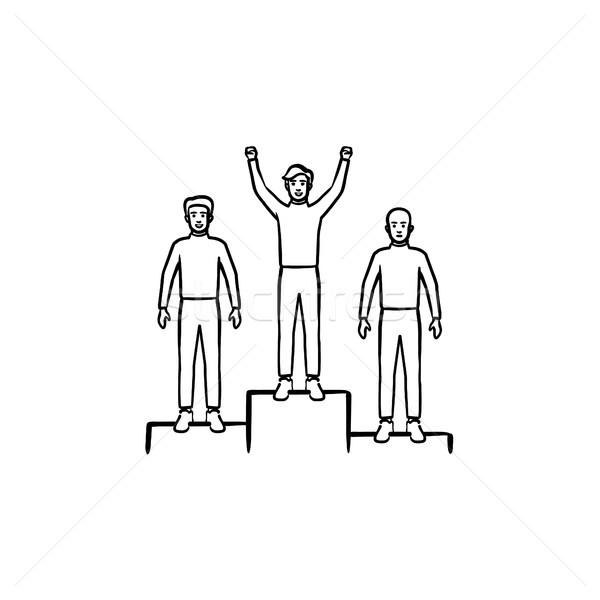 Nyertesek pódium kézzel rajzolt skicc firka ikon Stock fotó © RAStudio