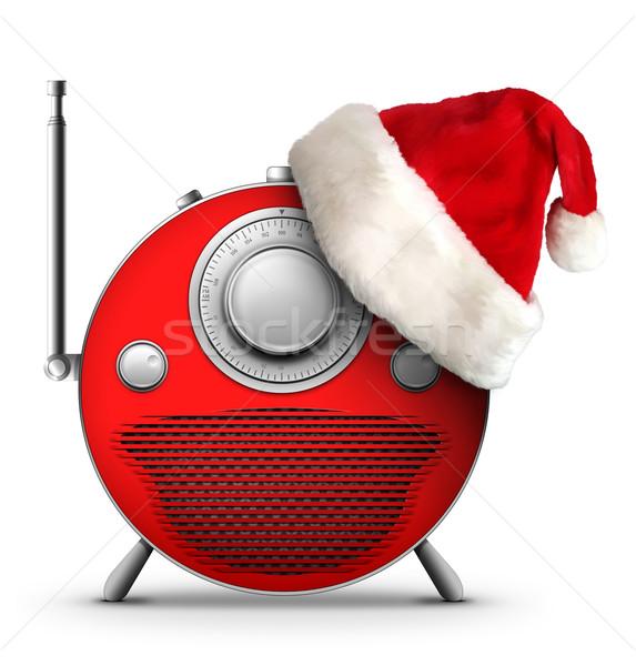 Рождества Новый год радио старые стиль компьютер Сток-фото © RAStudio