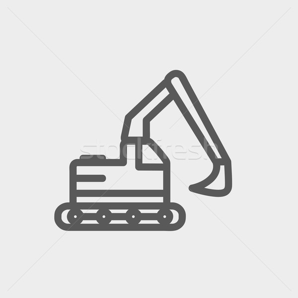Hidraulikus kotrógép teherautó vékony vonal ikon Stock fotó © RAStudio