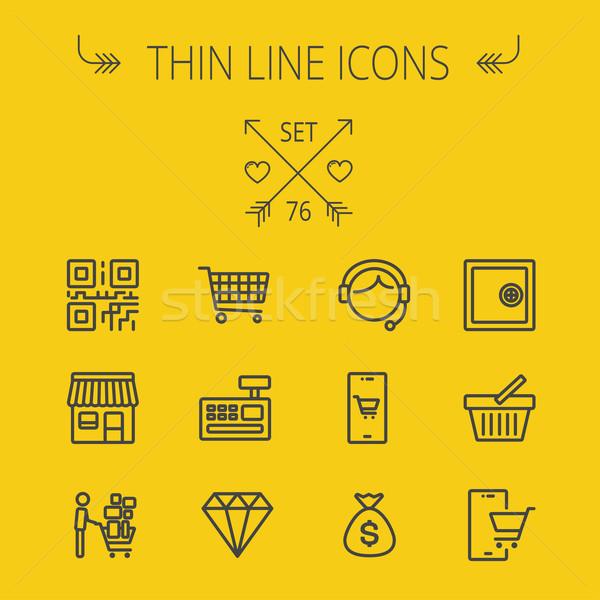 Stock photo: Business shopping thin line icon set