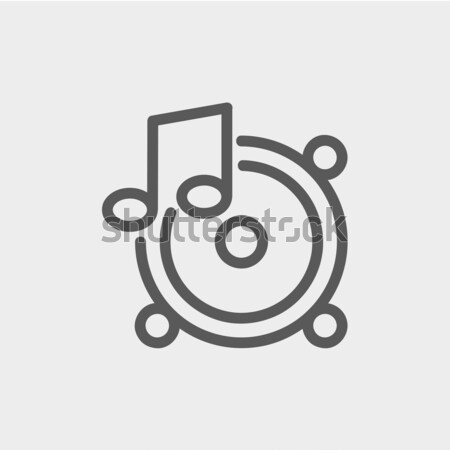 Muziek dun lijn icon web mobiele Stockfoto © RAStudio
