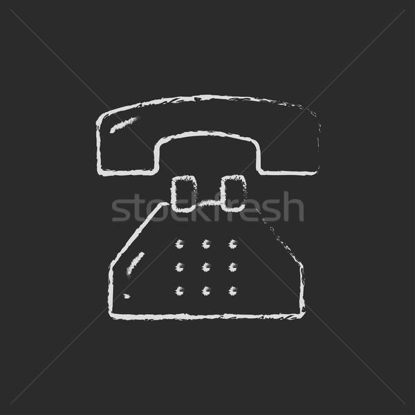Stock fotó: Telefon · rajzolt · kréta · kézzel · rajzolt · iskolatábla · vektor