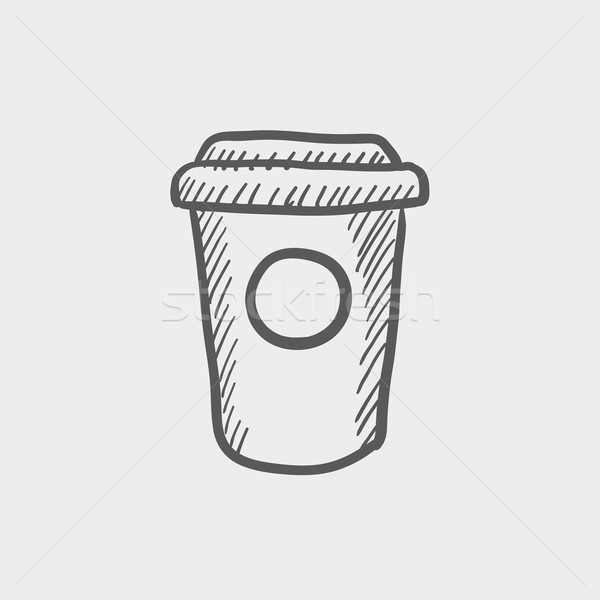 Jetable tasse de café croquis icône web mobiles Photo stock © RAStudio