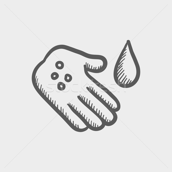 Wash the wound with watre sketch icon Stock photo © RAStudio