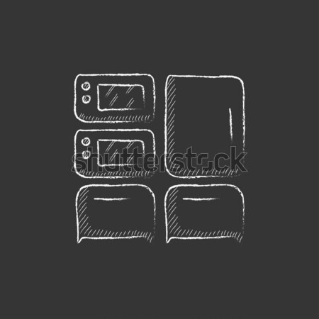 Household appliances icon drawn in chalk. Stock photo © RAStudio