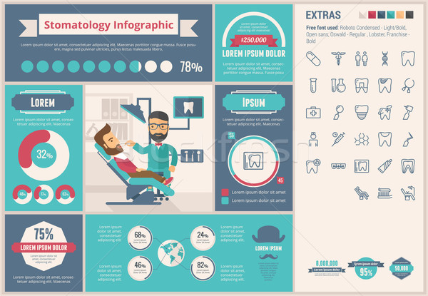 Stomatology flat design Infographic Template Stock photo © RAStudio