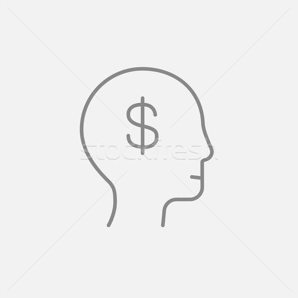 Stock photo: Head with dollar symbol line icon.