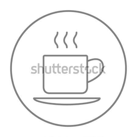 Cup bevanda calda line icona web mobile Foto d'archivio © RAStudio