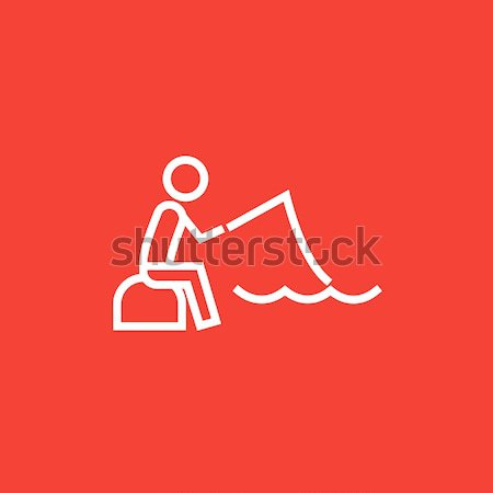 Fisherman sitting with rod line icon. Stock photo © RAStudio