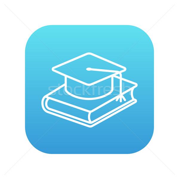 Stockfoto: Afstuderen · cap · leggen · boek · lijn · icon