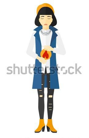 Vrouw lijden maagzuur vector ontwerp illustratie Stockfoto © RAStudio