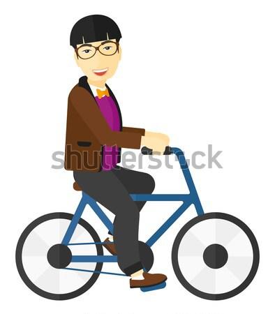 Stock fotó: Férfi · lovaglás · bicikli · vektor · terv · illusztráció