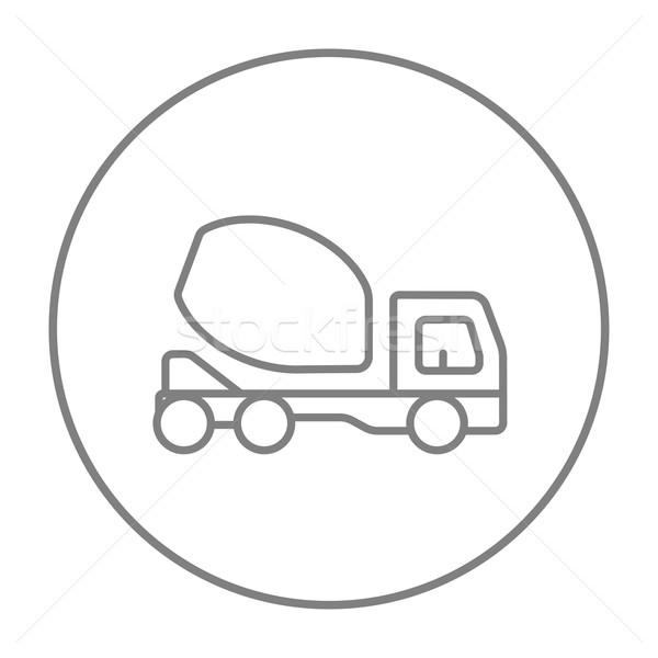 Concretas mezclador camión línea icono web Foto stock © RAStudio