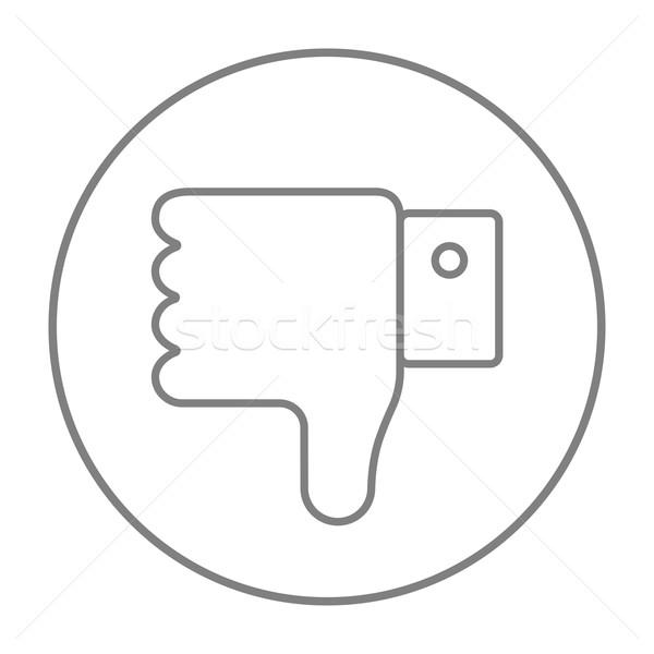 Thumb down hand sign line icon. Stock photo © RAStudio