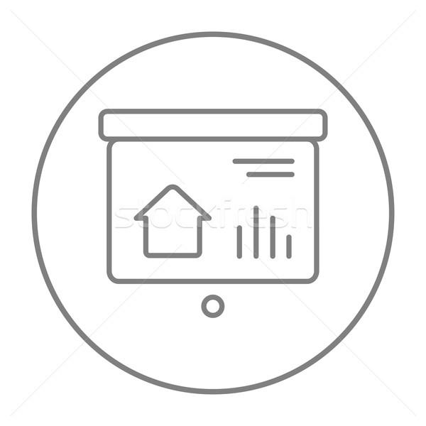 Presentatie projector scherm lijn icon web Stockfoto © RAStudio